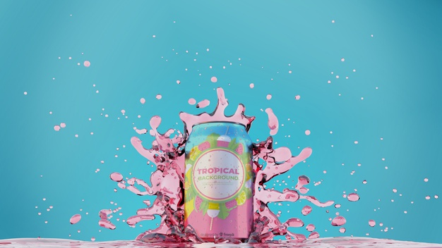 Soda can with splashing juice Free Psd