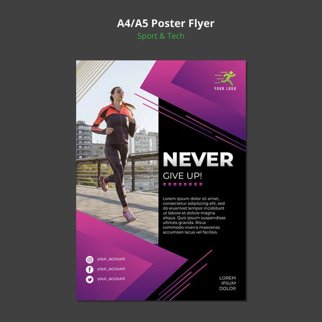 Sport & tech concept poster mock-up Free Psd
