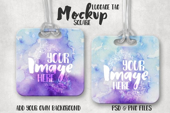 Square Customizable Hang Tag Mockup
