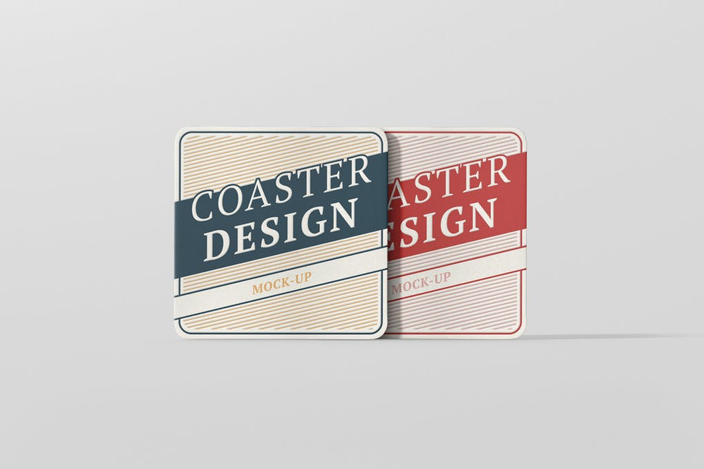 Square Shaped With Round Corner Coaster Mockup.