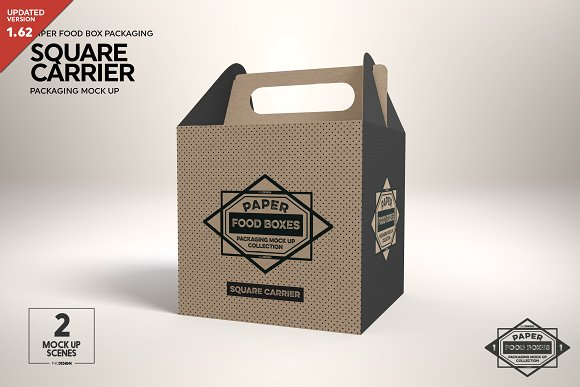 Square Snacks Packaging Box With Handle Mockup
