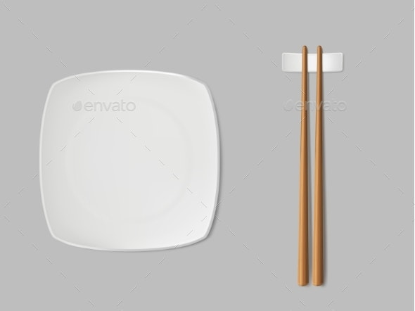 Square Sushi Plate and Chopsticks Realistic Vector