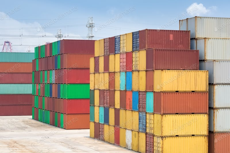 Stack Yard Shipping Container PSD Design Template