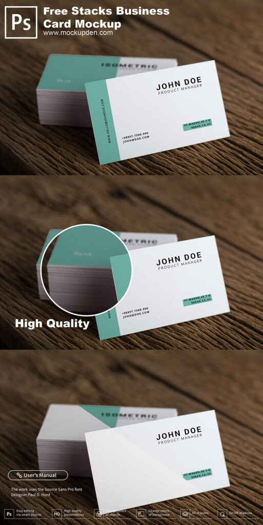 Free Stacks Business Card Mockup PSD Template