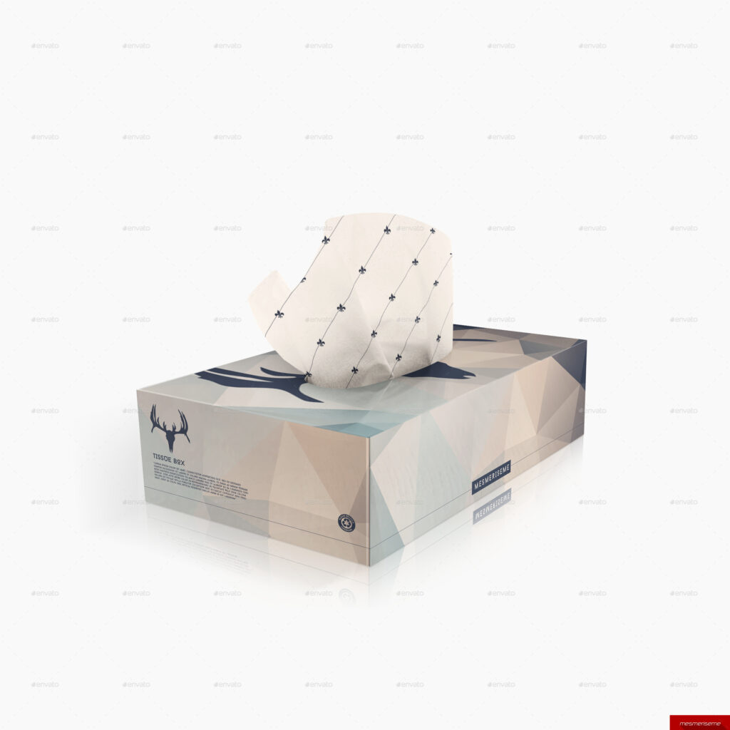 Star Printed Tissue Paper And Box Illustration