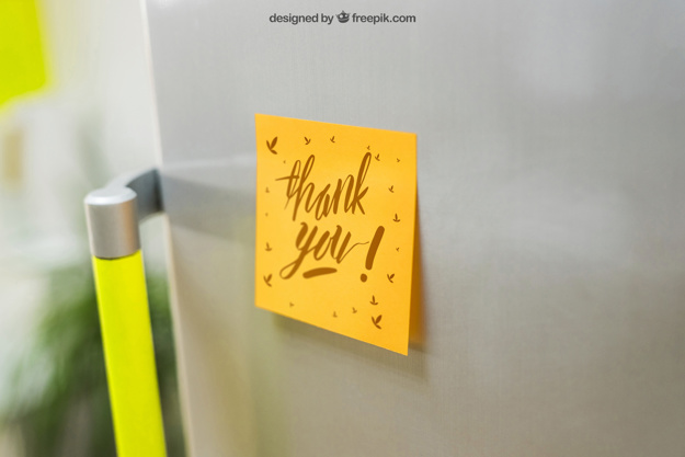 Sticky Note Mockup On Fridge PSD