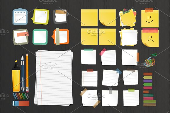 Sticky Notes With Stationery Elements Mockup PSD