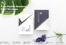 Free Stylish Business Card Mockup PSD Template