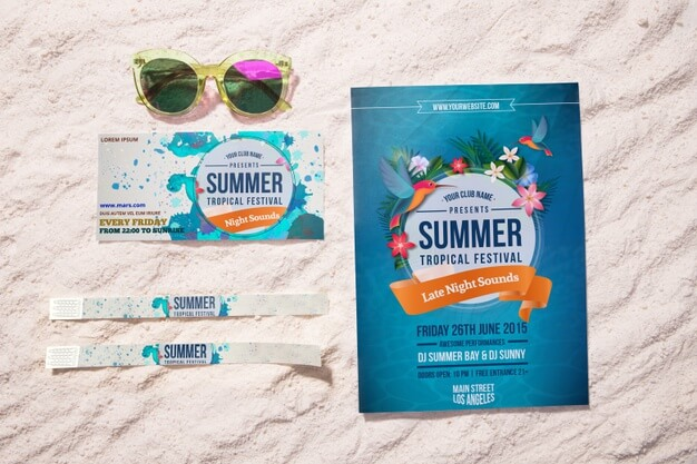 Summer event flyer and tickets on sand Free Psd