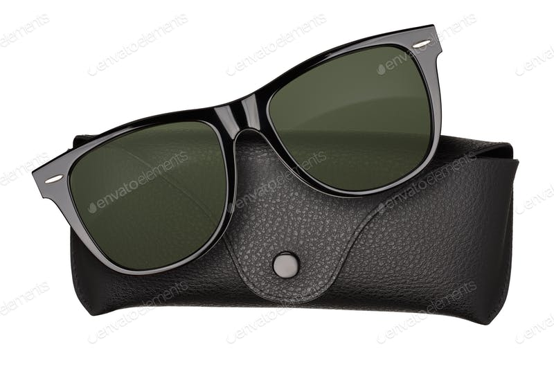 Sunglass with leather case Mockup PSD