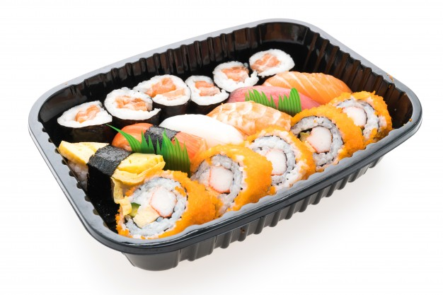 Sushi Set On Box Mockup