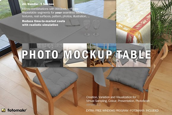 Table With Table Cloth Mockup
