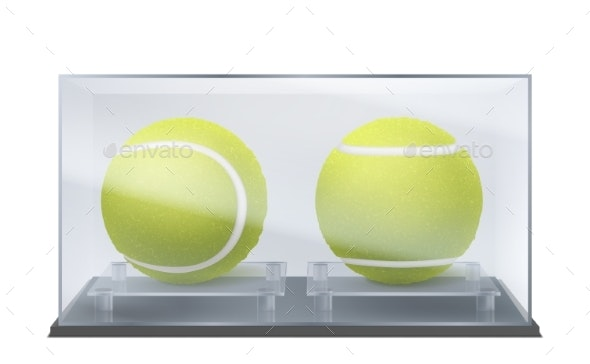Tennis Balls in Glass Case Sports Game Trophy