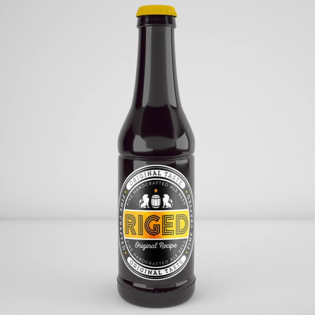 The Yellow cap Beer Bottle PSD: