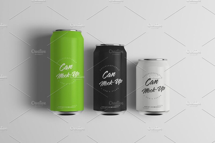 Thee Different Color Beer Can PSD Design Template