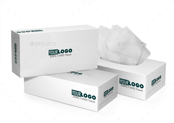 Tissue Box 3D Perspective Mockups PSD