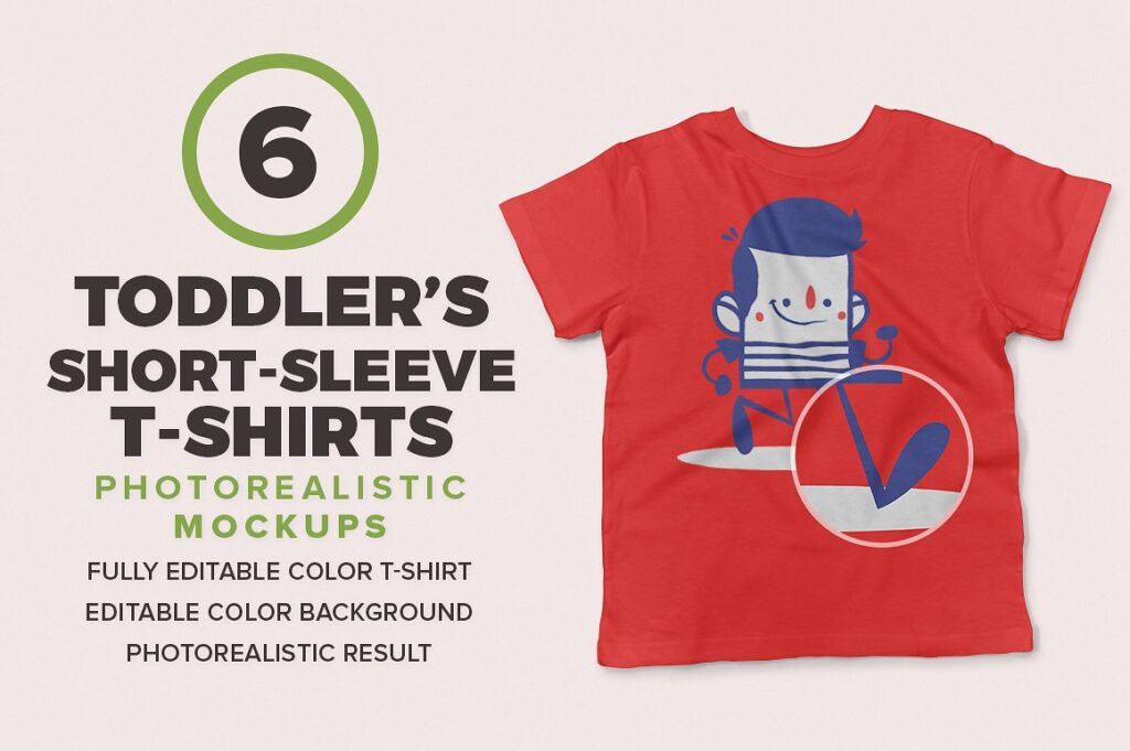 Toddler's T-shirt Wit Short Sleeve PSD Template.