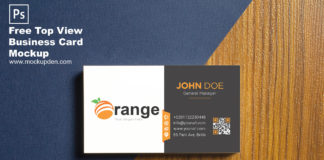 Free Top View Business Card Mockup PSD Template