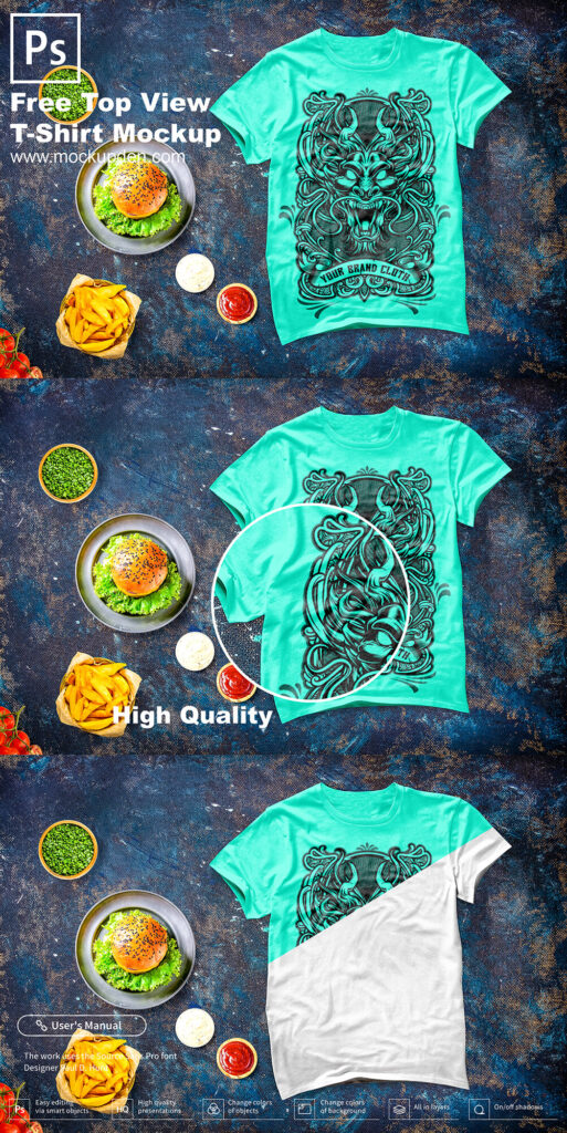 Free Top View T-Shirt Mockup PSD Template