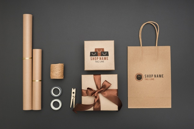 Top view mock-up wrapped gifts and paper bag Free Psd