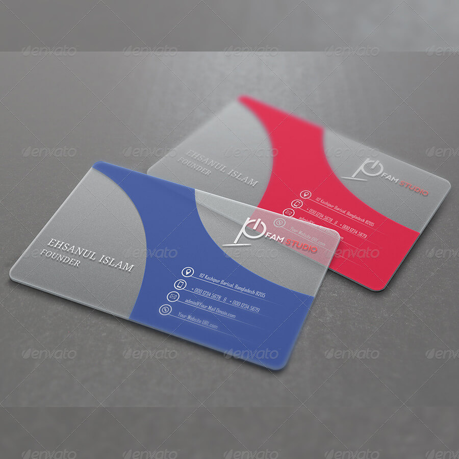 Translucent Business Plastic Card PSD Design.