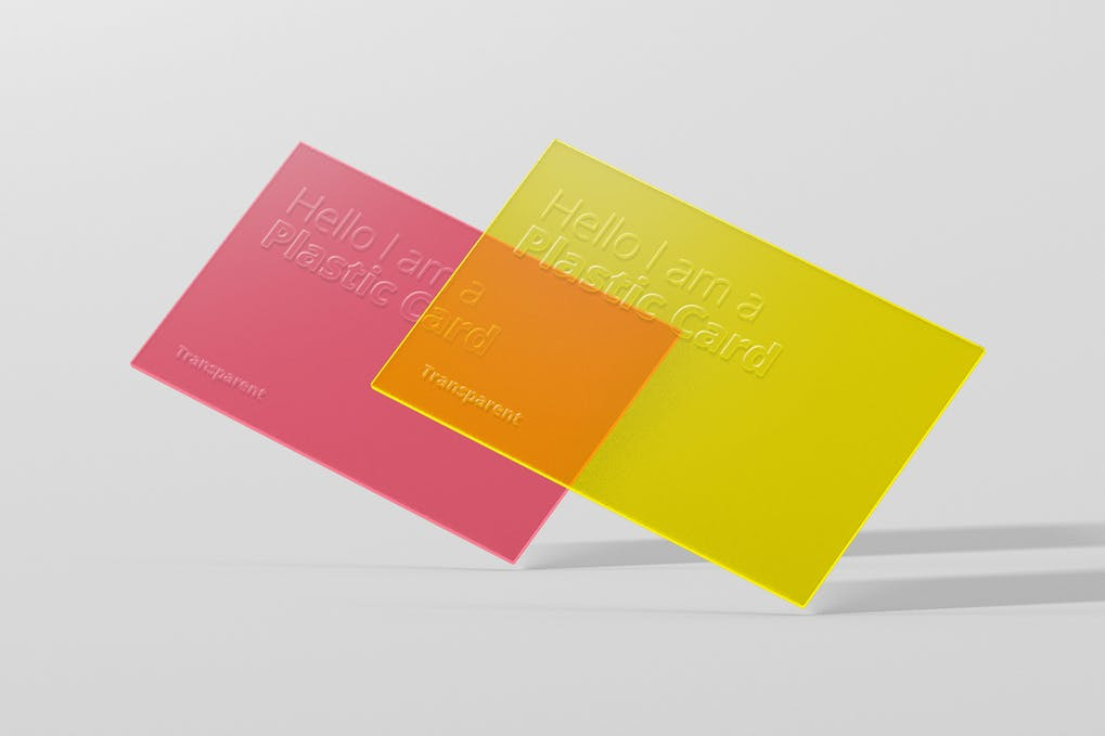 Transparent Colorful Plastic Card PSD.