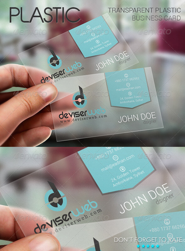 Transparent Flat Style Business Card Template PSD.
