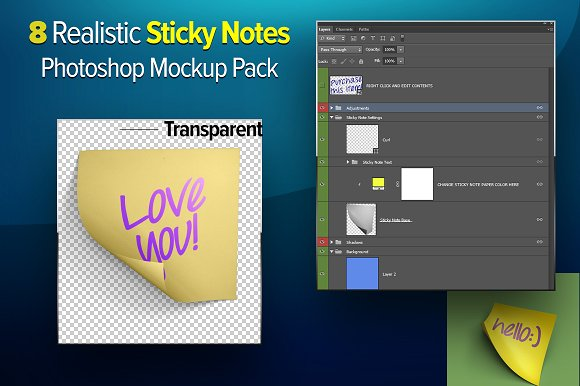 Transparent Photoshop Made Sticky Note paper Mockup