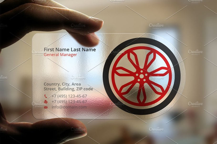 Transparent Plastic Wheel Card Design PSD.