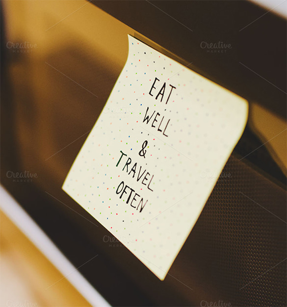 Travel & Eat Sticky Note Paper Mockup