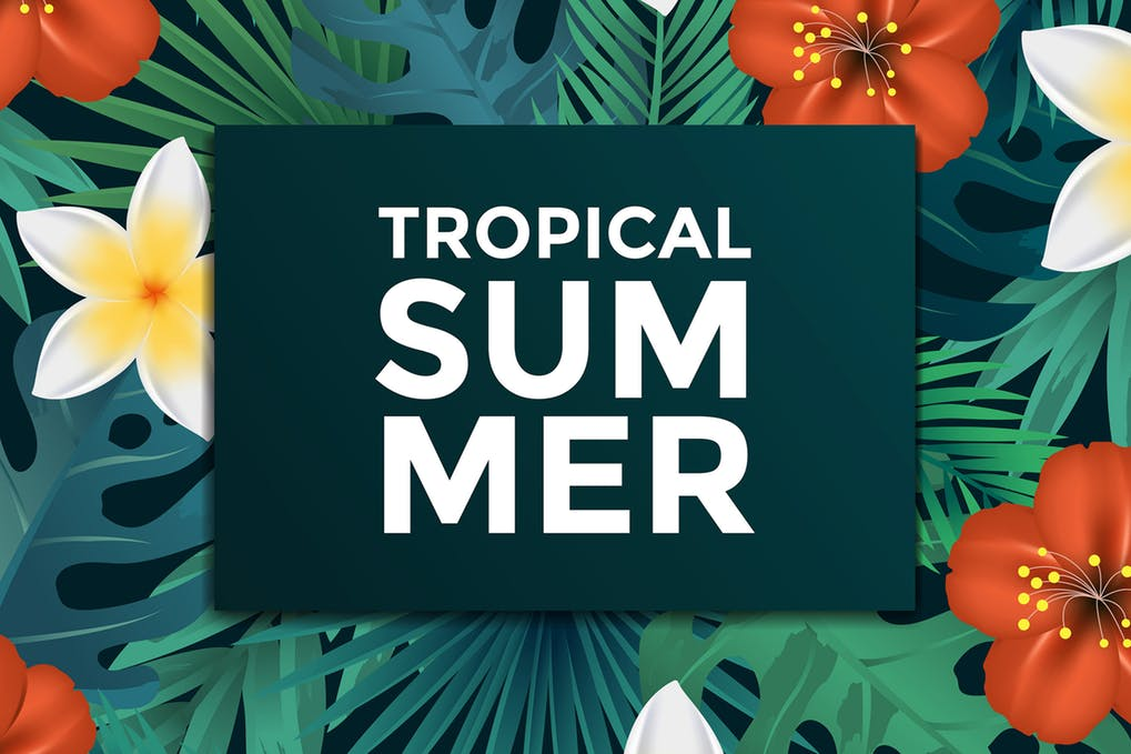 Tropical Print Business Card Mockup Design