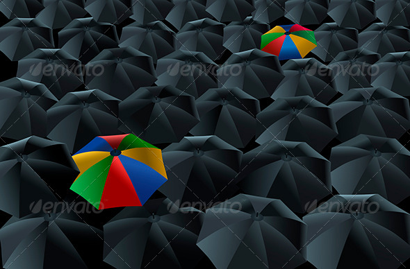 Two Colorful Umbrella In 100's of Black Colored Umbrella Vector.