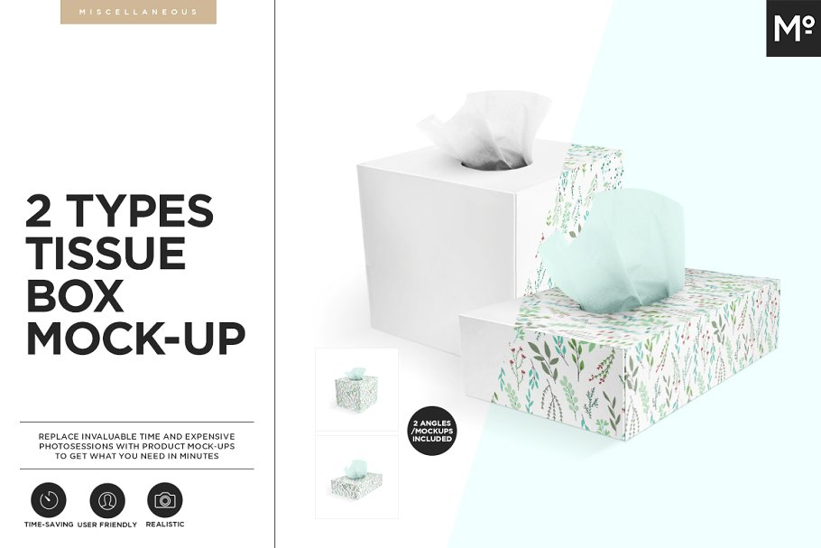 Two Different Types Tissue Box Mockup
