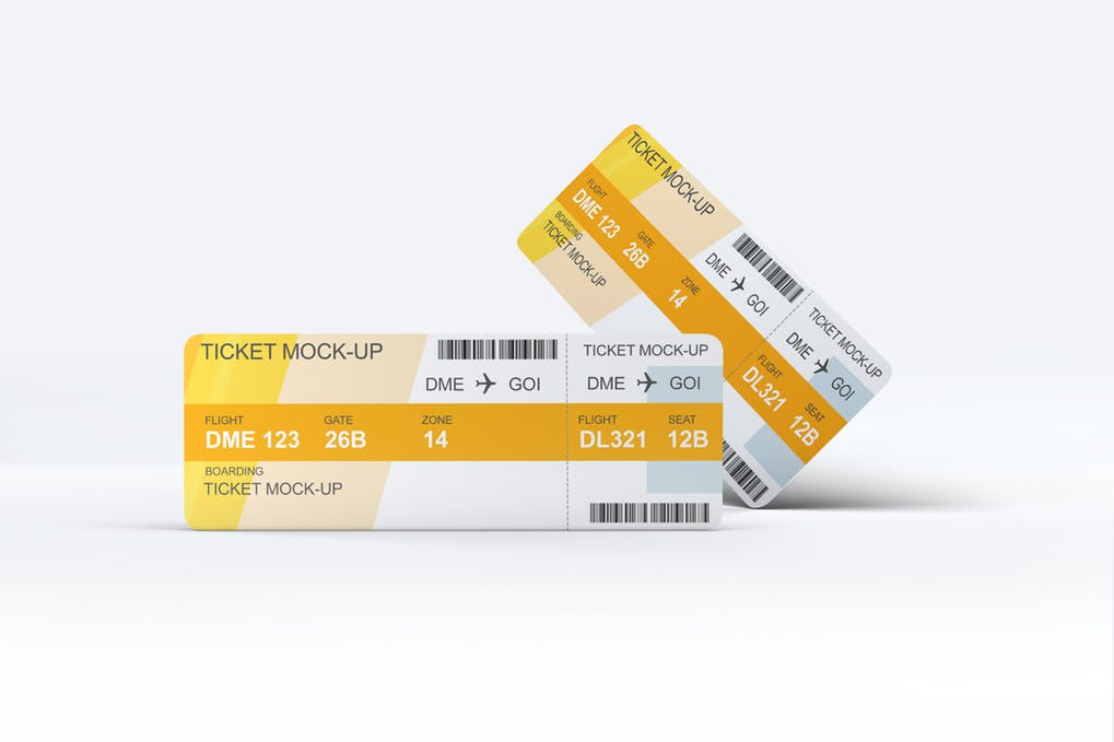 Two Flight Ticket Mockup