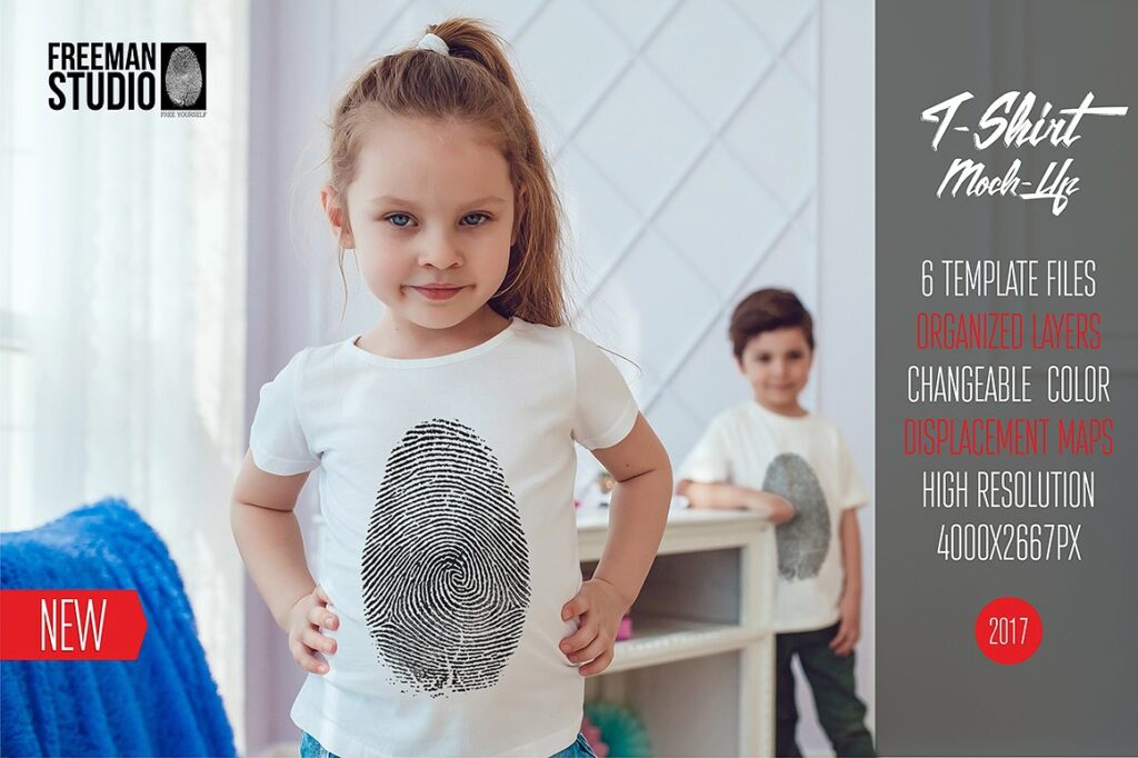 Two Kids Wearing Same Kind Of T-shirt PSD Mockup.