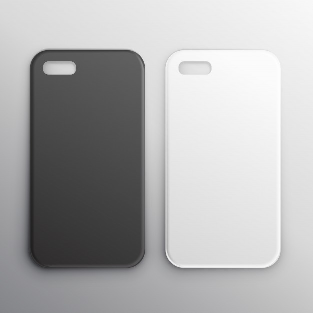 Two Phone Case Of Black And White Color Illustration.