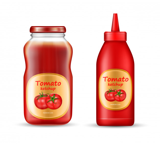 Two Tomato Sauce Bottle Vector Design Free.