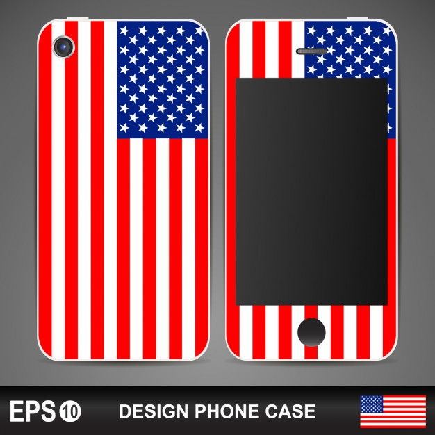 USA Flag Designed Case Cover PSD.