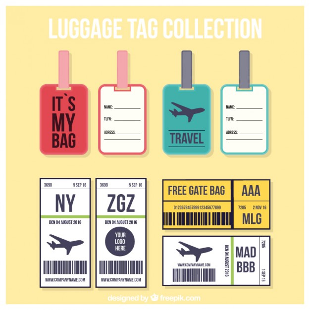 Various Trip Tag Collection For Luggage Vector File