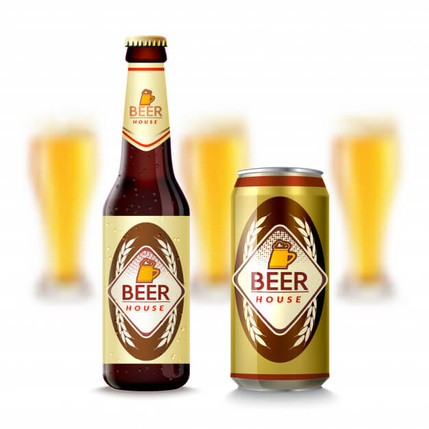 Vector File Illustration Of Beer Bottle And Can Mockup With Golden Cork
