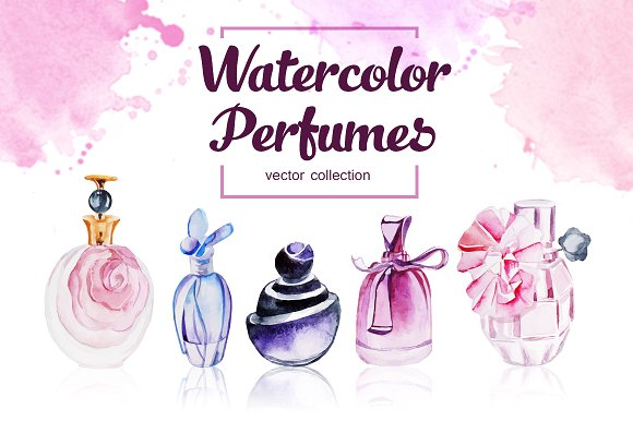 Vector Illustration of Perfume Bottles: