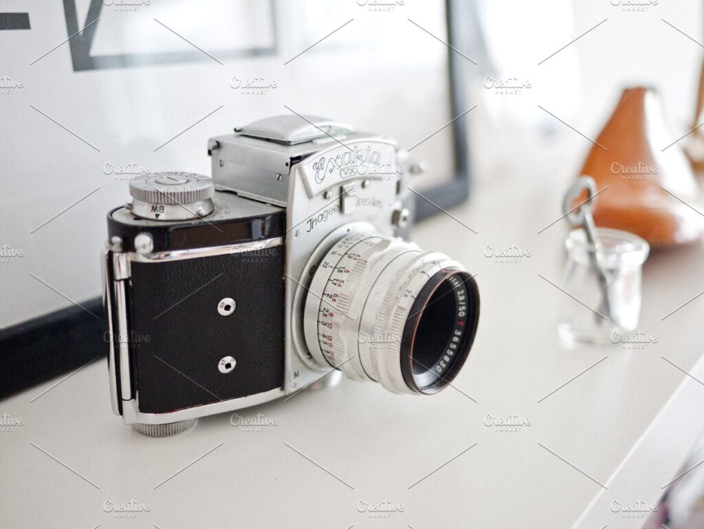 Vintage Camera On Marble Floor With Blur Background Mockup