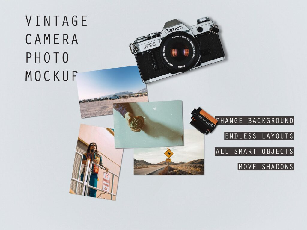 Vintage Canon Camera PSD Template