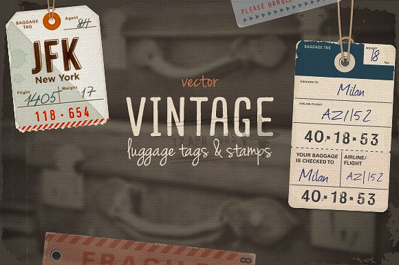 Vintage Format Luggage Tag Vector File Illustration