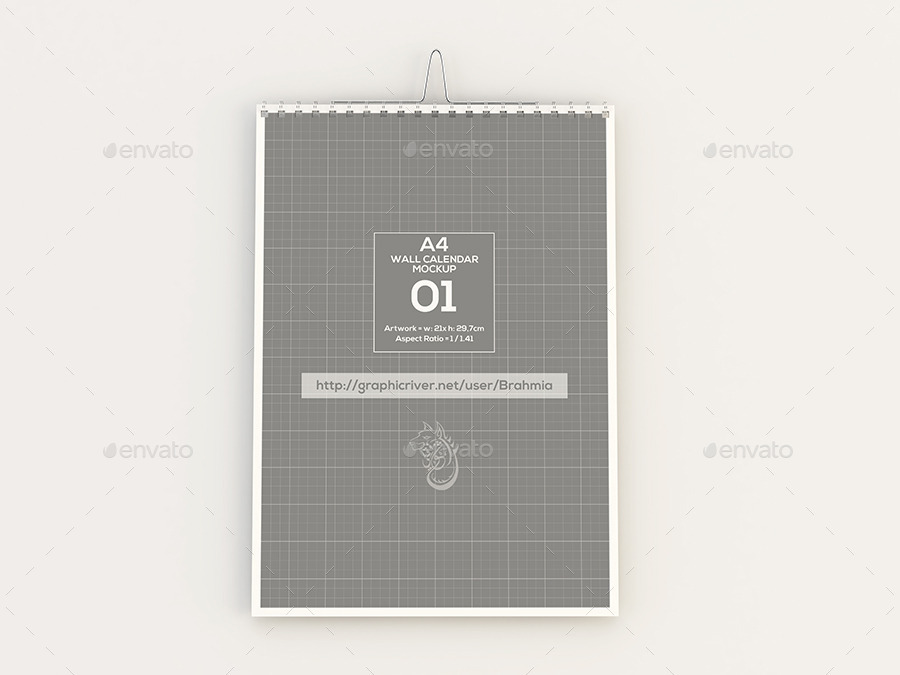 Wall Calendar Mockups For A4