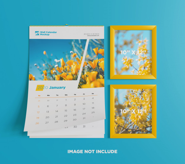 Wall calendar mockup with photo frame Premium Psd