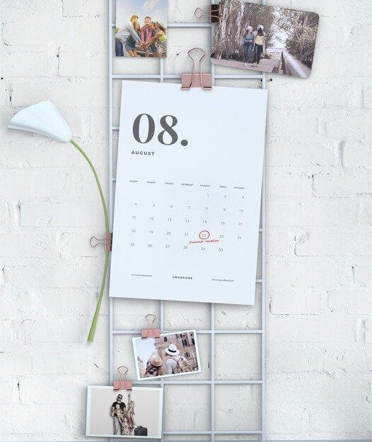 Wall display hanging calendar mock-up Free Psd