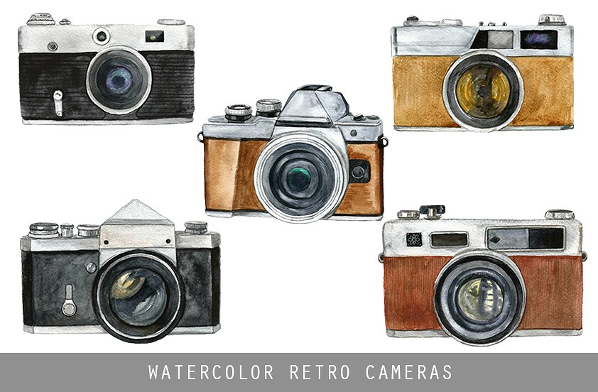 Water Color Print Retro Style Camera Photo Illustration
