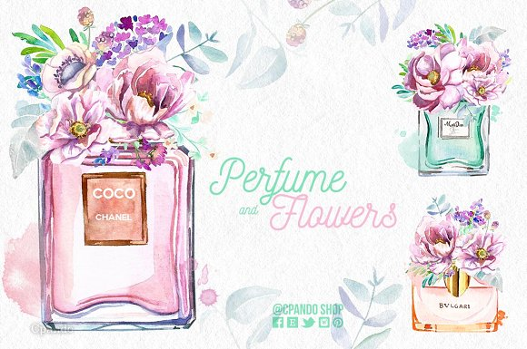 Watercolor Presentation of Perfume Bottle Design Template: