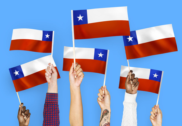 Waving Flags Of Chile Mockup.